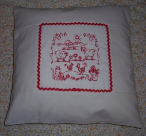 redwork calico cushion