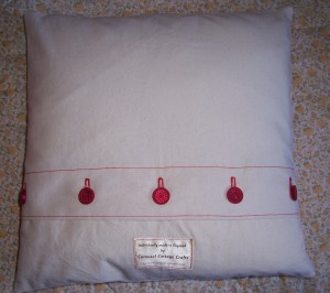 redwork calico cushion reverse