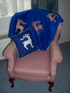 reindeer throw and cushion
