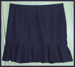 flippy blue denim skirt