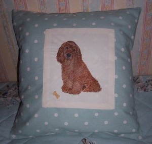 chocolate spaniel cushion