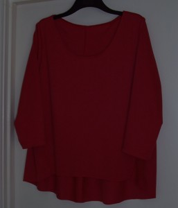 6272 red ponte jersey top front view